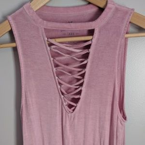 AEO Soft & Sexy Lace Up V-Neck Tank Top